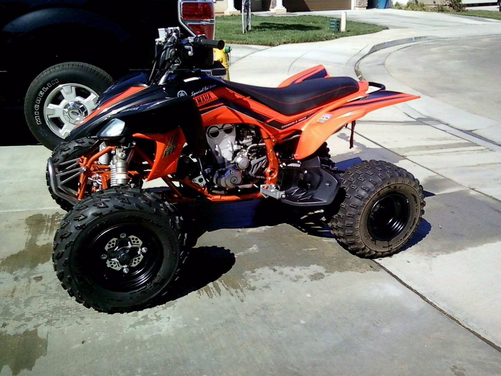 2008 yamaha yfz 450 limited edition black and orange atv