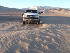 the dunes that formed in camp overnight after the crazy winds